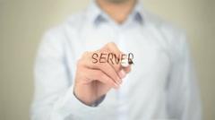 Server, Man Writing on Transparent Screen Stock Footage