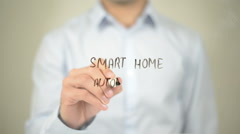 Smart Home Automation, Man Writing on Transparent Screen Stock Footage