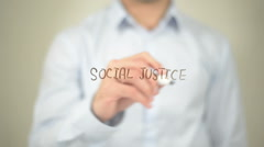 Social Justice, Man Writing on Transparent Screen Stock Footage