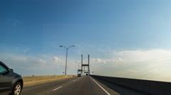 Hyperlapse of Savannah Talmadge Memorial Bridge Stock Footage