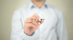 Start, Man Writing on Transparent Screen Stock Footage