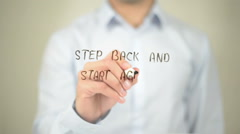 Step Back and Start Again, Man Writing on Transparent Screen Stock Footage