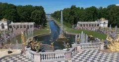 Peterhof Palace: the Samson Fountain and Sea Channel Stock Footage