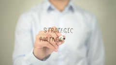 Strategic Partnership, Man Writing on Transparent Screen Stock Footage
