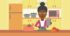 Woman cooking meal - stock illustration