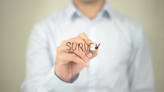 Survey, Man Writing on Transparent Screen Stock Footage