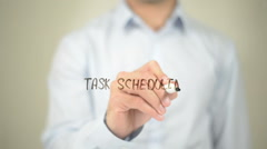 Task Scheduling, Man Writing on Transparent Screen Stock Footage