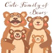 Cute card with a family of brown bears. Dad hugs mother and children - stock illustration