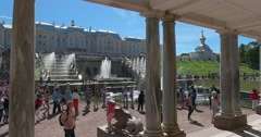 Grand Peterhof Palace and the Grand Cascade. Columns Stock Footage