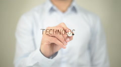 Technology, Man Writing on Transparent Screen Stock Footage