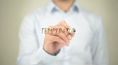 Temperature, Man Writing on Transparent Screen - stock footage