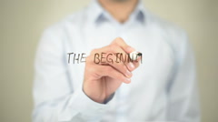 The Beginning, Man Writing on Transparent Screen Stock Footage