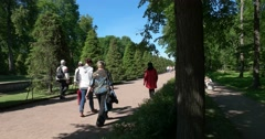 Walkway to the Gulf of Finland. Petergof Stock Footage