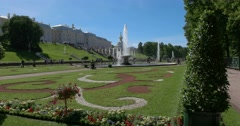 Magnificent Peterhof. Palace square and the fountains. Petergof Stock Footage