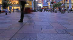 Time-lapse of crowds of people crossing at the fashionable square Stock Footage