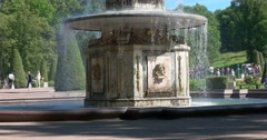 Detail of a Roman fountain. Petergof Stock Footage
