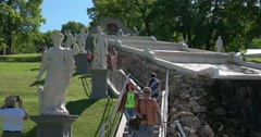 """The cascade """"Chess mountain. Staircase and sculpture. Petergof Stock Footage"""