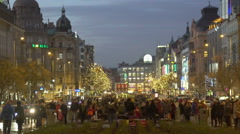 Celebration event on the main boulevard of city, people enjoying street music Stock Footage
