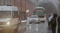 Relay race Olympic flame in Saint Petersburg in October. Bari Alibasov run with Stock Footage