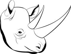 cartoon simple sketch african rhino with big horns, vector - stock illustration