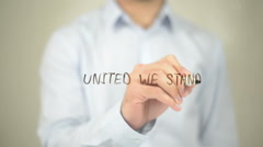 United We Stand, Man Writing on Transparent Screen Stock Footage