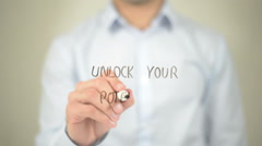 Unlock Your Potential, Man Writing on Transparent Screen Stock Footage