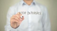 User Interface Design, Man Writing on Transparent Screen Stock Footage