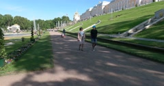 Palace square. The Western part of the lower garden. Petergof Stock Footage