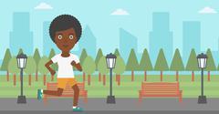 Sportive woman jogging - stock illustration