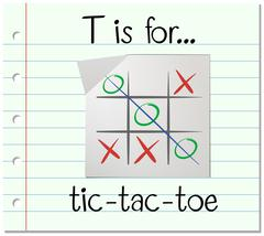 Flashcard letter T is for tic tac toe - stock illustration