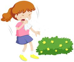 Girl having allergy from pollen - stock illustration