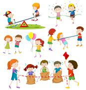 Children playing different games - stock illustration
