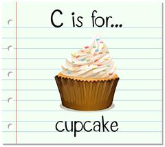 Flashcard letter C is for cupcake Stock Illustration