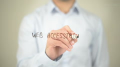 Web Accessibility, Man Writing on Transparent Screen - stock footage