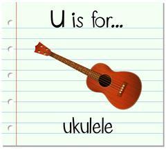 Flashcard letter U is for ukulele Stock Illustration