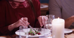 4k, A happy couple having a meal at a fine dining restaurant. Slow motion. Stock Footage