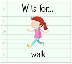 Flashcard letter W is for walk - stock illustration