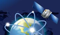 Satellite orbitting around the earth Stock Illustration