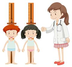 Boy and girl measuring height - stock illustration