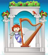 Angel flying around harp in heaven - stock illustration