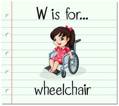 Flashcard letter W is for wheelchair - stock illustration