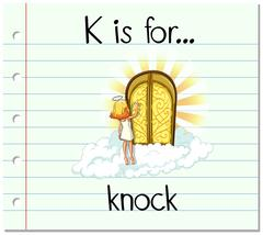 Flashcard letter K is for knock - stock illustration
