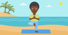 Man practicing yoga - stock illustration