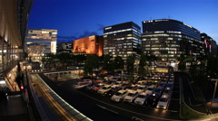 Time-lapse of taxi area at beautiful sunset - stock footage
