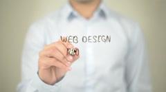 Web Design Process, Man Writing on Transparent Screen Stock Footage