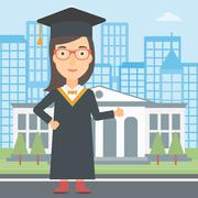 Graduate showing thumb up sign Stock Illustration
