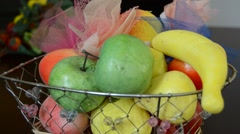 A fruit basket and sweets Stock Footage