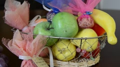 Сandy and fruit basket Stock Footage