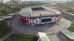 Spartak Otkritie Arena stadium from above. From above. Modern Moscow city Russia Stock Footage