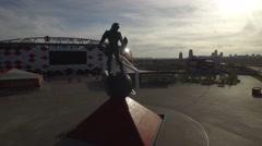 Spartak statue Otkritie Arena stadium. From above. Modern Moscow city Russia.  Stock Footage